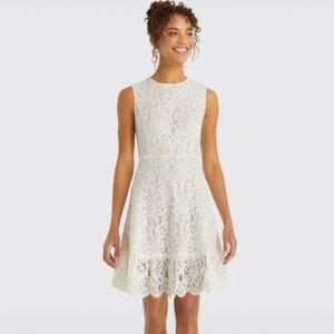 Draper James White Sleeveless Lace A-Line Dress